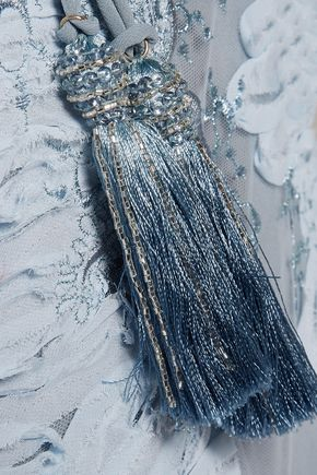 MARCHESA NOTTE Open-back embroidered chiffon and tulle dress