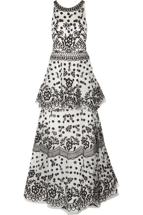 MARCHESA NOTTE Tiered embroidered tulle gown