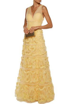 MARCHESA NOTTE Fil coupé-trimmed tulle gown