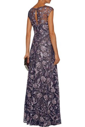 MARCHESA NOTTE Layered metallic embroidered tulle and lace gown
