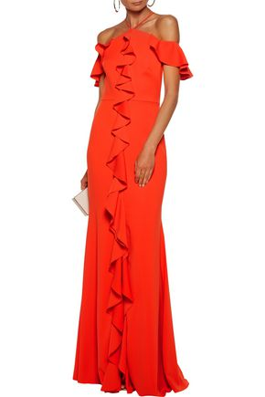 MARCHESA NOTTE Off-the-shoulder ruffle-trimmed crepe gown