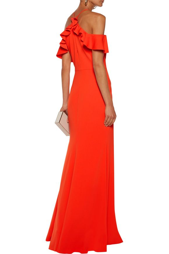 Off-the-shoulder ruffle-trimmed crepe gown | MARCHESA NOTTE | Sale up to 70%  off | THE OUTNET