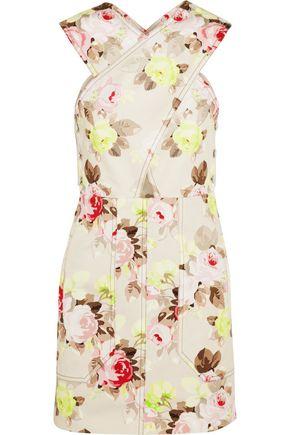 CARVEN Floral-print denim mini dress
