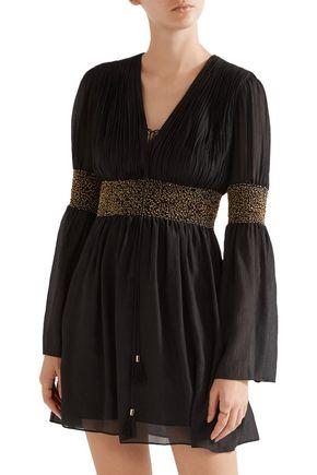 RACHEL ZOE Laurel embellished crinkled silk-chiffon mini dress
