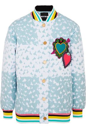 HOUSE OF HOLLAND Heart appliquéd matelassé bomber jacket