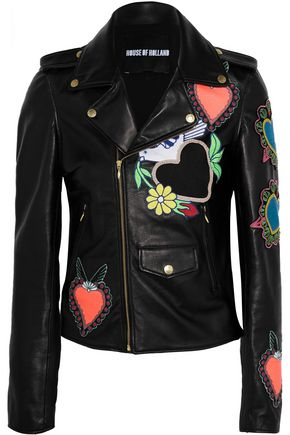 HOUSE OF HOLLAND Appliquéd leather biker jacket