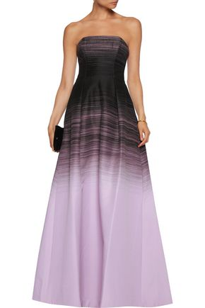 HALSTON HERITAGE Strapless printed crepe gown