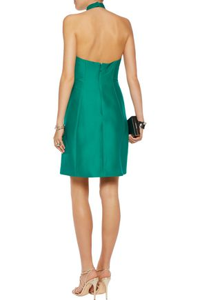 HALSTON HERITAGE Halterneck cotton and silk-blend mini dress