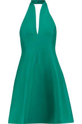HALSTON HERITAGE Flared cotton and silk-blend halterneck mini dress