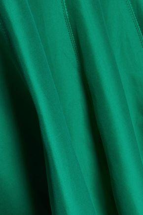 HALSTON HERITAGE Cotton and silk-blend halterneck gown