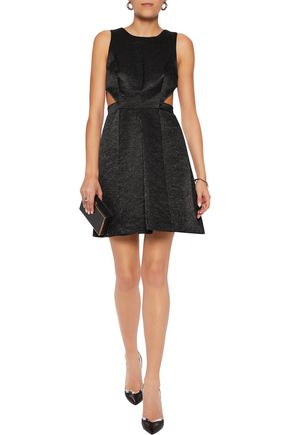 HALSTON HERITAGE Cutout cotton-blend jacquard mini dres