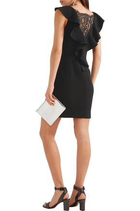 RACHEL ZOE Deandrea lace-paneled ruffled crepe mini dress