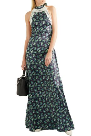 HOUSE OF HOLLAND Lace-trimmed floral-print satin halterneck maxi dress
