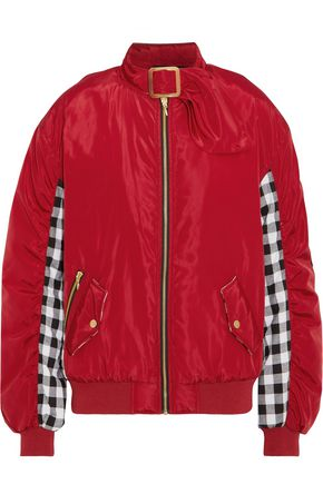 HOUSE OF HOLLAND Shell and checked cotton bomber jacket