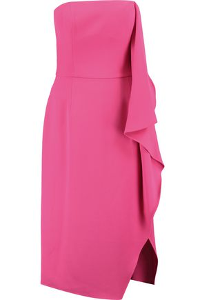 HALSTON HERITAGE Strapless draped crepe dress