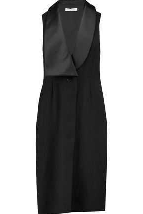 HALSTON HERITAGE Satin-trimmed crepe dress