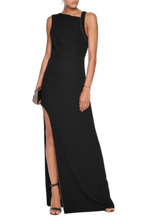 HALSTON HERITAGE Chain-embellished crepe gown