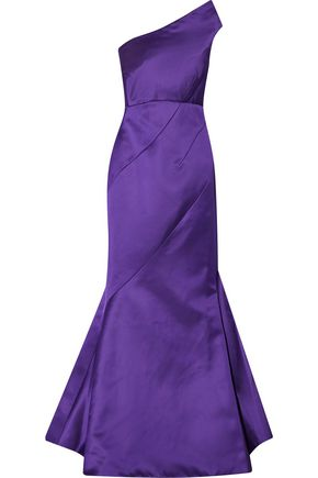 ZAC POSEN One-shoulder silk-satin gown