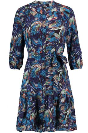 SALONI Tyra printed silk mini dress