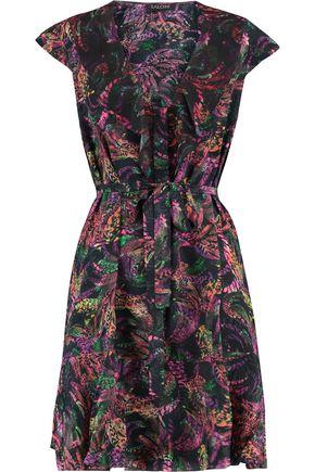 SALONI Katie ruffle-trimmed printed silk-crepe mini dress
