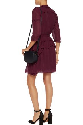 SALONI Tilly ruffle-trimmed embellished embroidered devoré mini dress