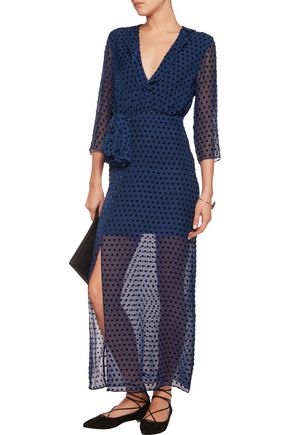 SALONI Jennifer flocked chiffon midi dress