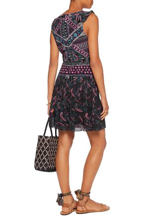 SALONI Elodie printed silk mini dress