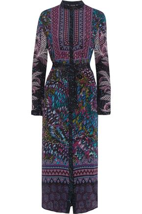 SALONI Molly printed silk-crepe mini dress