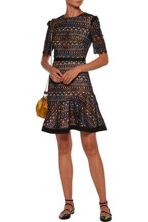 SALONI Juno crepe de chine-trimmed ruffled guipure lace mini dress