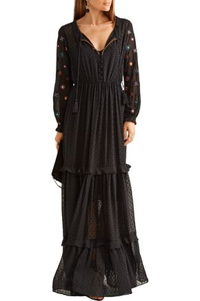 SALONI Alexia embroidered fil coupé maxi dress