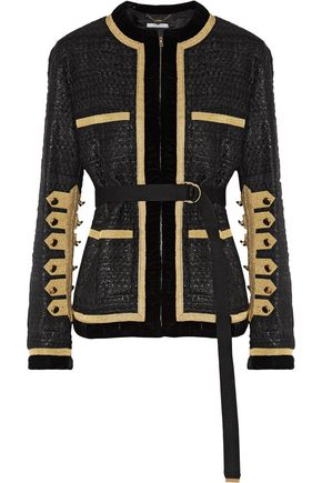 GIVENCHY Velvet and metallic grosgrain-trimmed tweed jacket