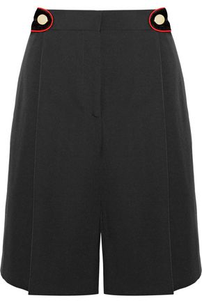 GIVENCHY Velvet-trimmed crepe shorts