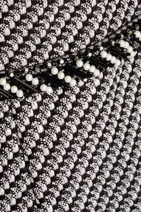 MIKAEL AGHAL Tulle-paneled embellished tweed dress