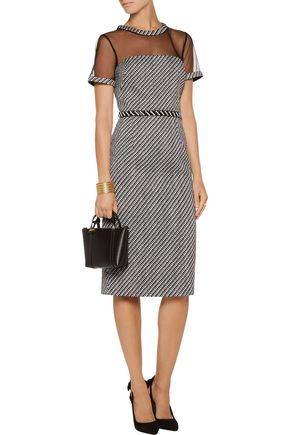 MIKAEL AGHAL Tulle-paneled embellished tweed dress