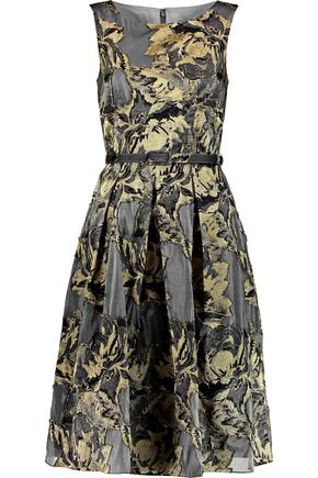 MIKAEL AGHAL Metallic jacquard midi dress