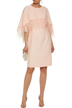 MIKAEL AGHAL Feather-trimmed crepe dress