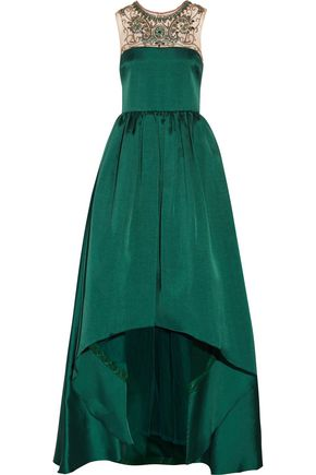 MIKAEL AGHAL Embellished satin-twill gown