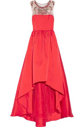 MIKAEL AGHAL Embellished satin and tulle flared gown