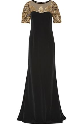 MIKAEL AGHAL Embroidered tulle-paneled cady gown