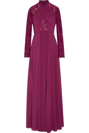 MIKAEL AGHAL Lace-paneled chiffon gown