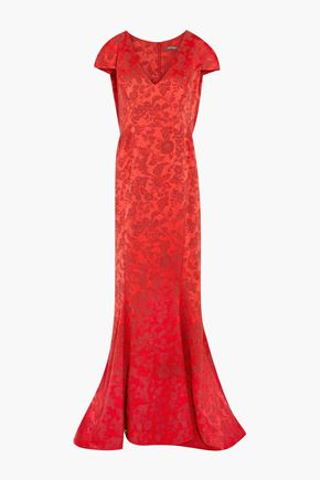 ZAC POSEN Fluted brocade gown