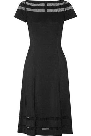 MIKAEL AGHAL Tulle-trimmed flared stretch-knit dress
