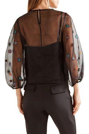 SALONI Thea embellished silk-organza blouse