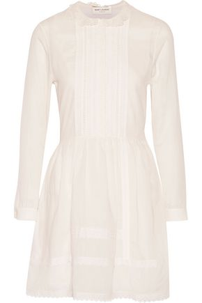 SAINT LAURENT Lace-paneled cotton mini dress
