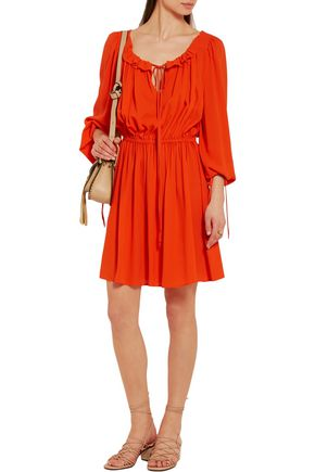 MICHAEL KORS COLLECTION Ruffled silk-crepe mini dress