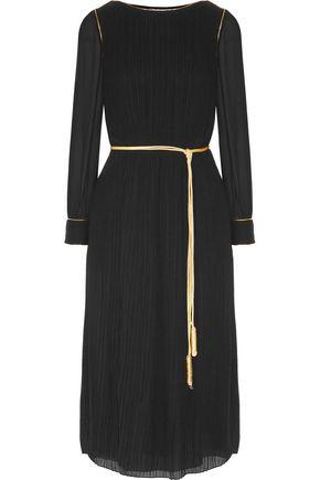 SAINT LAURENT Belted pleated crepe de chine midi dress