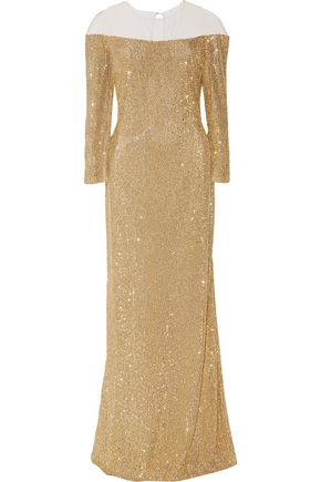 REEM ACRA  New York Sequined tulle gown