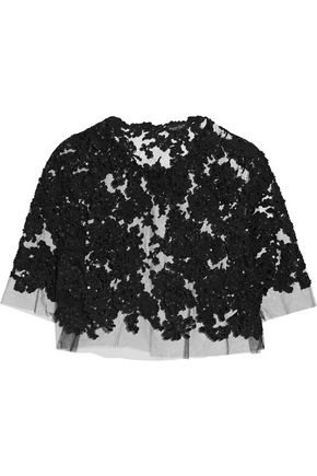 REEM ACRA Embellished embroidered cotton-blend tulle jacket