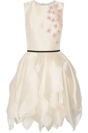 REEM ACRA  New York Layered floral-appliquéd organza mini dress