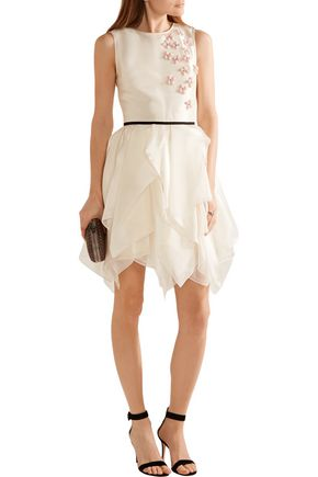 REEM ACRA Layered floral-appliquéd organza mini dress